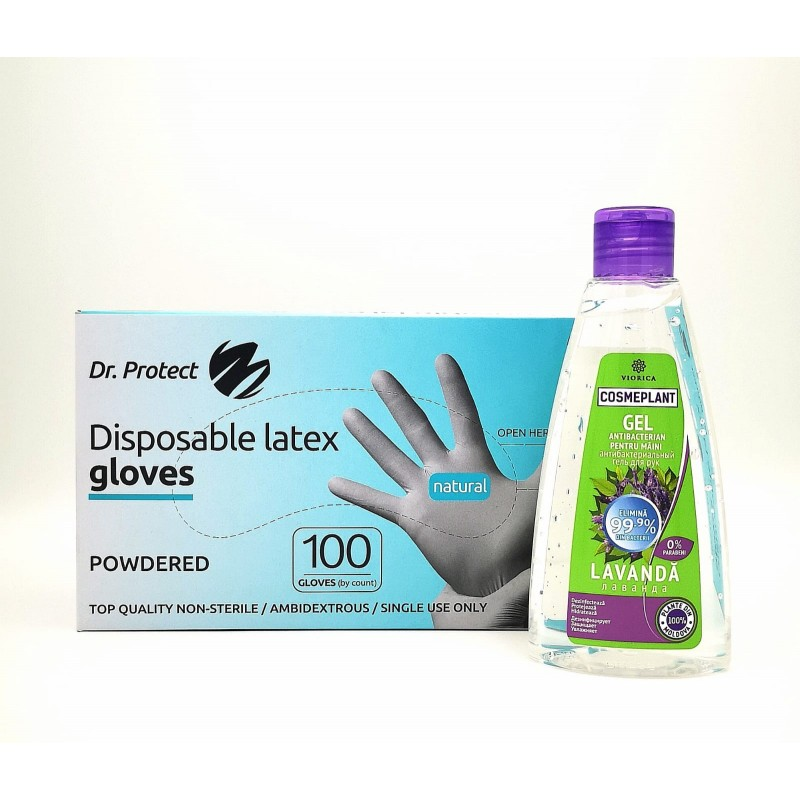 Set mănusi latex alb XS + Gel dezinfectant